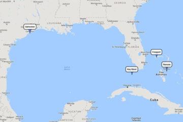 Carnival Freedom Bahamian cruise from Galveston to Key West, Freeport & Nassau, Jan 27, 2018 route