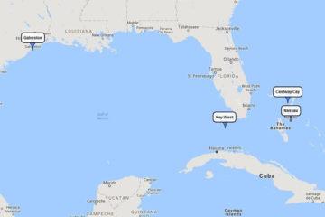 Disney Wonder Bahamian cruise from Galveston to Key West, Castaway Cay & Nassau, Dec 22, 2017 route