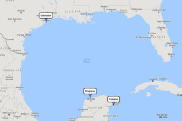 Carnival Valor, Cozumel Plus Western Caribbean mini cruise from Galveston, July 9, 2018 route
