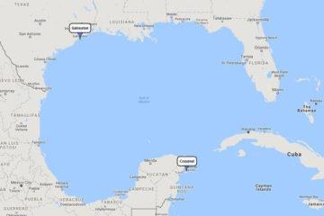 Carnival Valor, Cozumel Plus mini cruise from Galveston, April 25, 2019 route